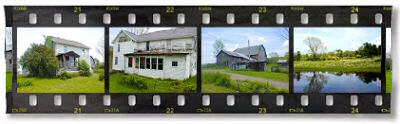 Filmstrip illustrating 062406 auction of 177 acres with house, barn, pond in Owego, NY