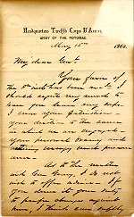 M13: Letter of May 15, 1863 to General Thomas Kane signed by Major General Henry Slocum.