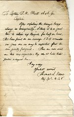 M15: Pencil letter on lined paper from Brigadier General Thomas kane to Captain J.H. Elliot, circa Civil War.