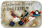 Section of 1854 Sampler by Cathrine Jones, age 13
